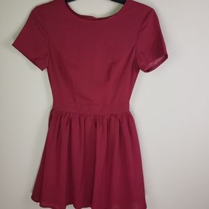 TOBI MILA WINE BACKLESS SKATER DRESS - SIZE XS